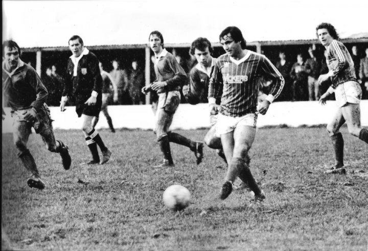 George Best and others played charity football at Barnstaple Town in December 1982