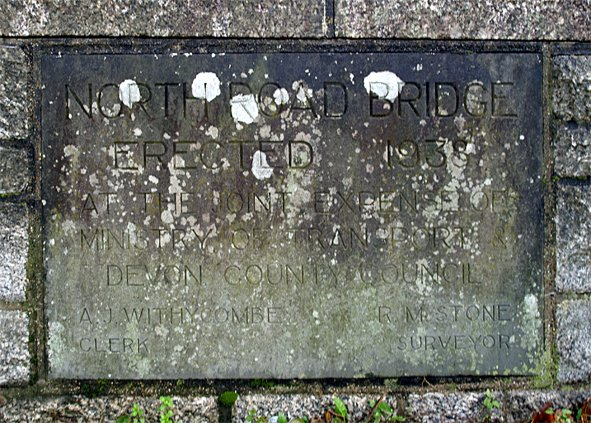 Commemorative Stone for erection of new North Road Bridge at Pilton in 1938
