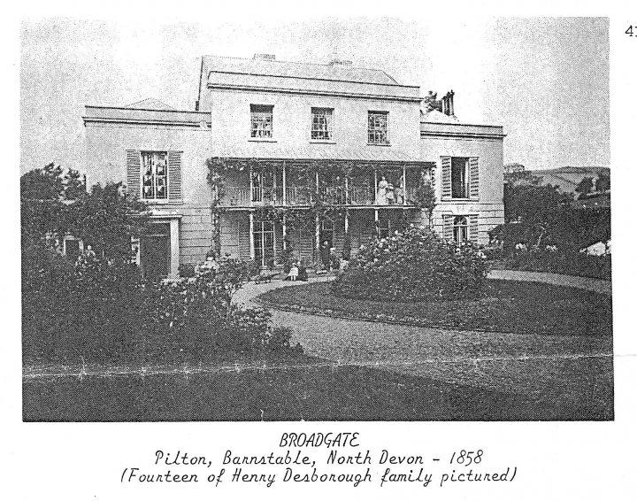 Broadgate Villa, Pilton with the Desborough Family in 1858