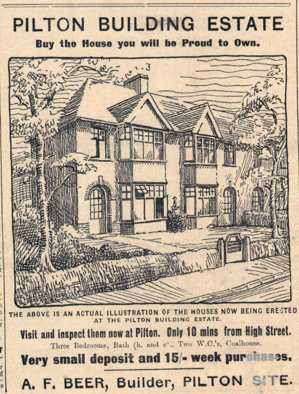 A 1935 advertisment for houses at the Pilton Building Estate now Priory Close, Pilton