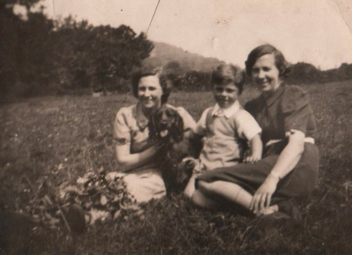 Olive Fewing and Lydia May Mortimer with Michael Mortimer in the 1940s
