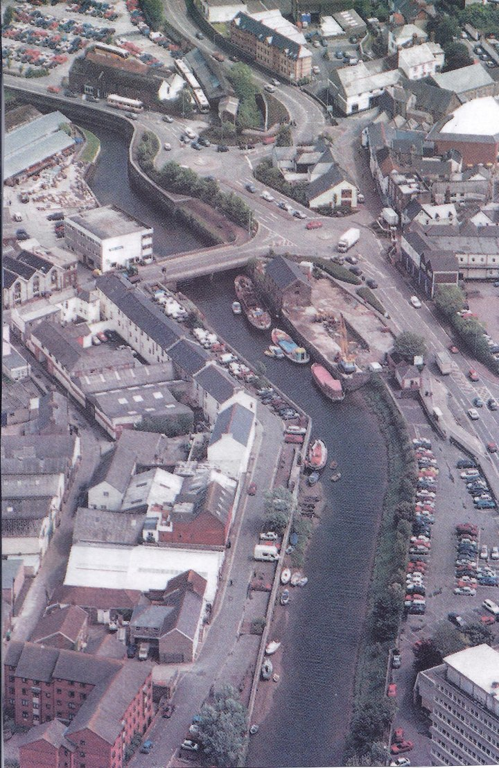 Aerial View of River Yeo and Rolle Quay in the late 1980s