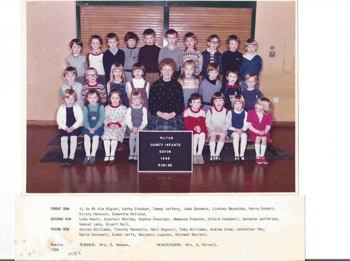 Pilton County Infants School Robins Class in 1985