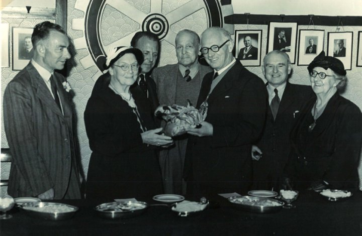 Miss Allsop of Pilton House is presented with a Paignton crab on 15th June 1955