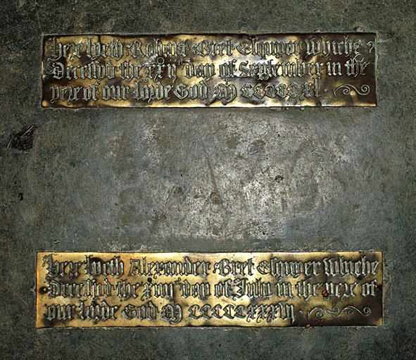 Brasses to Alexander and Robert Bret in St Mary's Church, Pilton