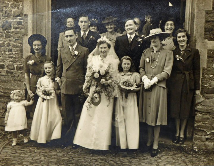 Wedding of Patricia Ruth Stevens and Arthur Douglas Lemon at St Mary's Church Pilton, May 14th 1945