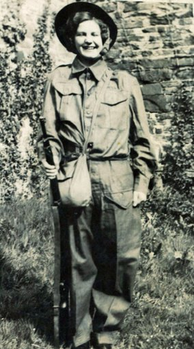 Iris Pearce dressed in a Home Guard Uniform during the 1939-45 War