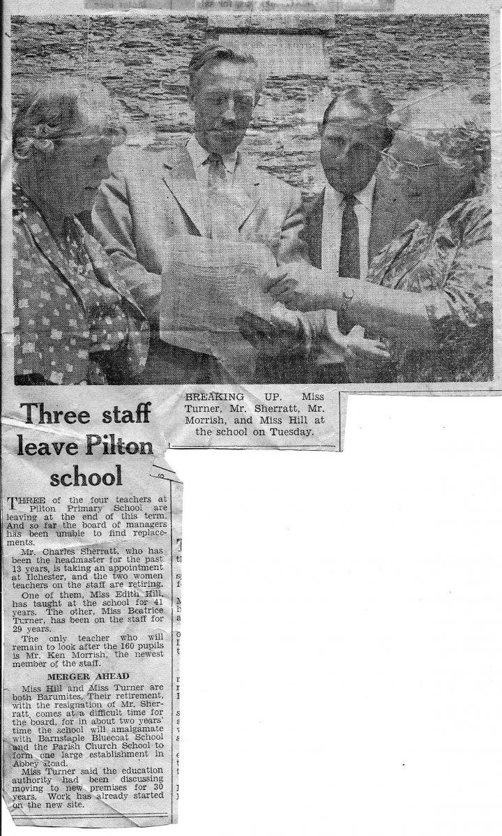 Teachers Leaving Pilton School in about 1967
