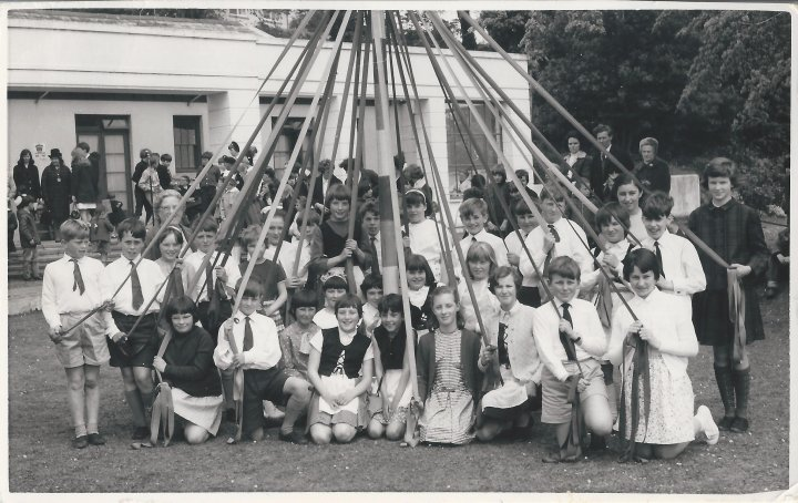 Maypole Dancing at Pilton House in 1968