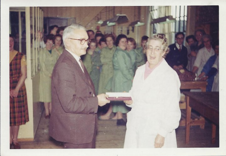 Flo Stills Retirement from Pilton Glove Factory in about 1964