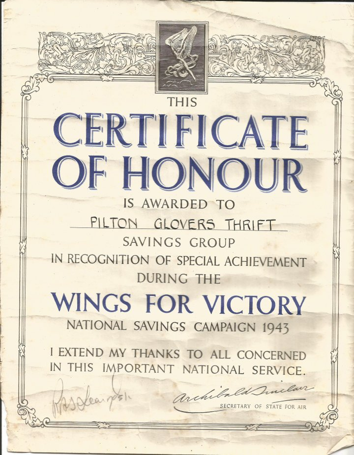 Certificate of Honour awarded to Pilton the Glovers Thrift Savings Group during the World War II National Savings Campaign in 19