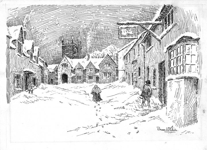 Pilton Street in the Snow in 1924 by Bruce William Oliver