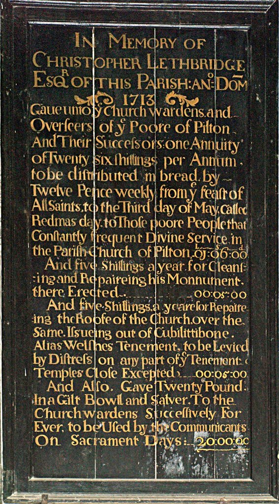 Tablet in Memory of Christopher Lethbridge 1713 in Pilton Church