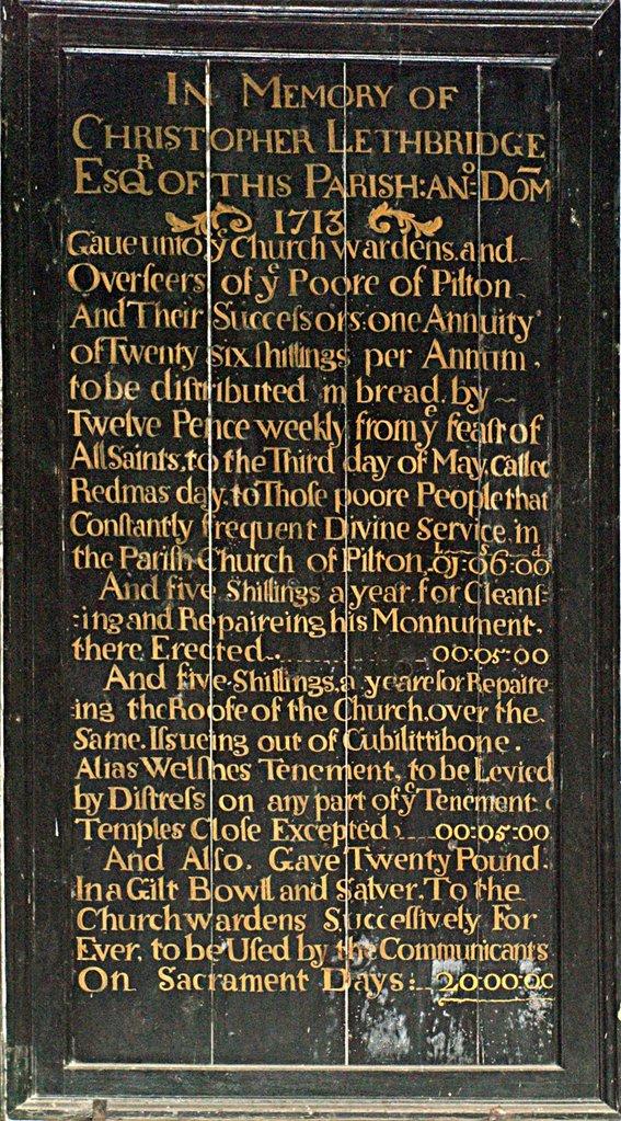 Tablet in Memory of Christopher Lethbridge 1713 in Pilton Church