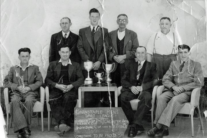Barnstaple Men's Darts League - League Cup Division II - Webber Cup Winners - the Chichester Arms' A Team, Pilton, 1950-1951