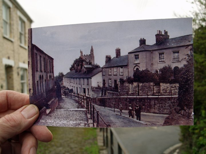 1900 Postcard in front of photograph of The Rock, Pilton