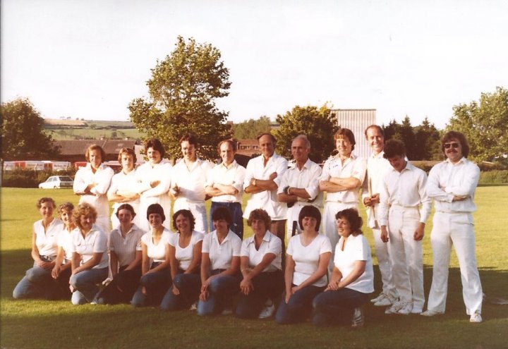 Ladies v Gents Cricket Match at Pilton Cricket Club during the first Pilton Festival in July 1982