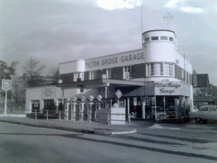 Pilton Bridge Garage, Pilton, in the 1960s