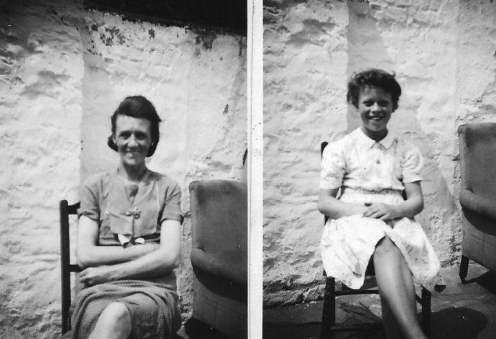 Beatrice Swain and Maureen Chapman at 73 The Rock, Pilton