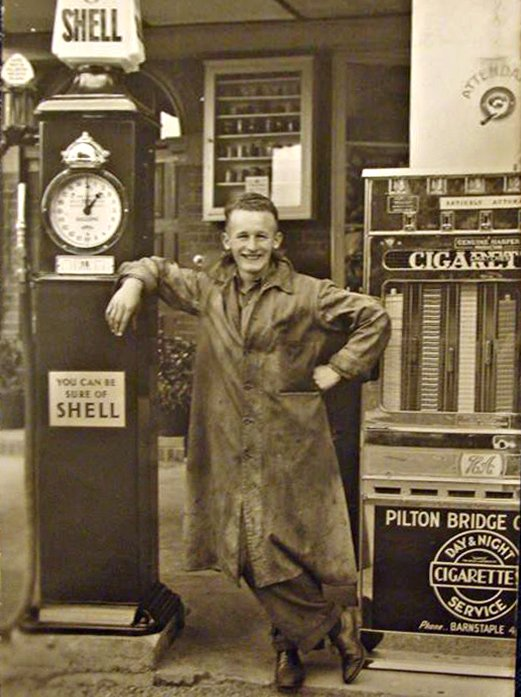 Leonard Ward outside Pilton Bridge Garage in 1950s