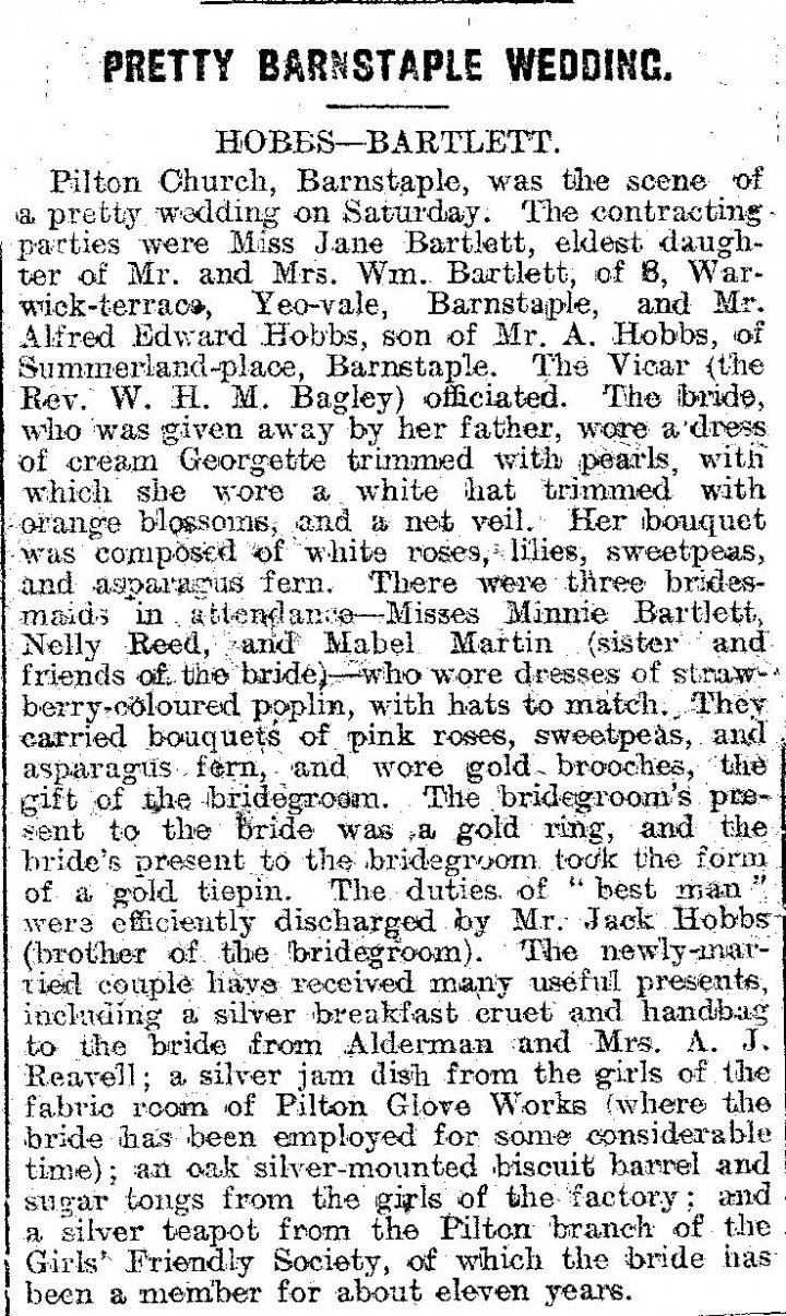 Wedding of Alfred Hobbs and Jane Bartlett in Pilton Church in July 1920