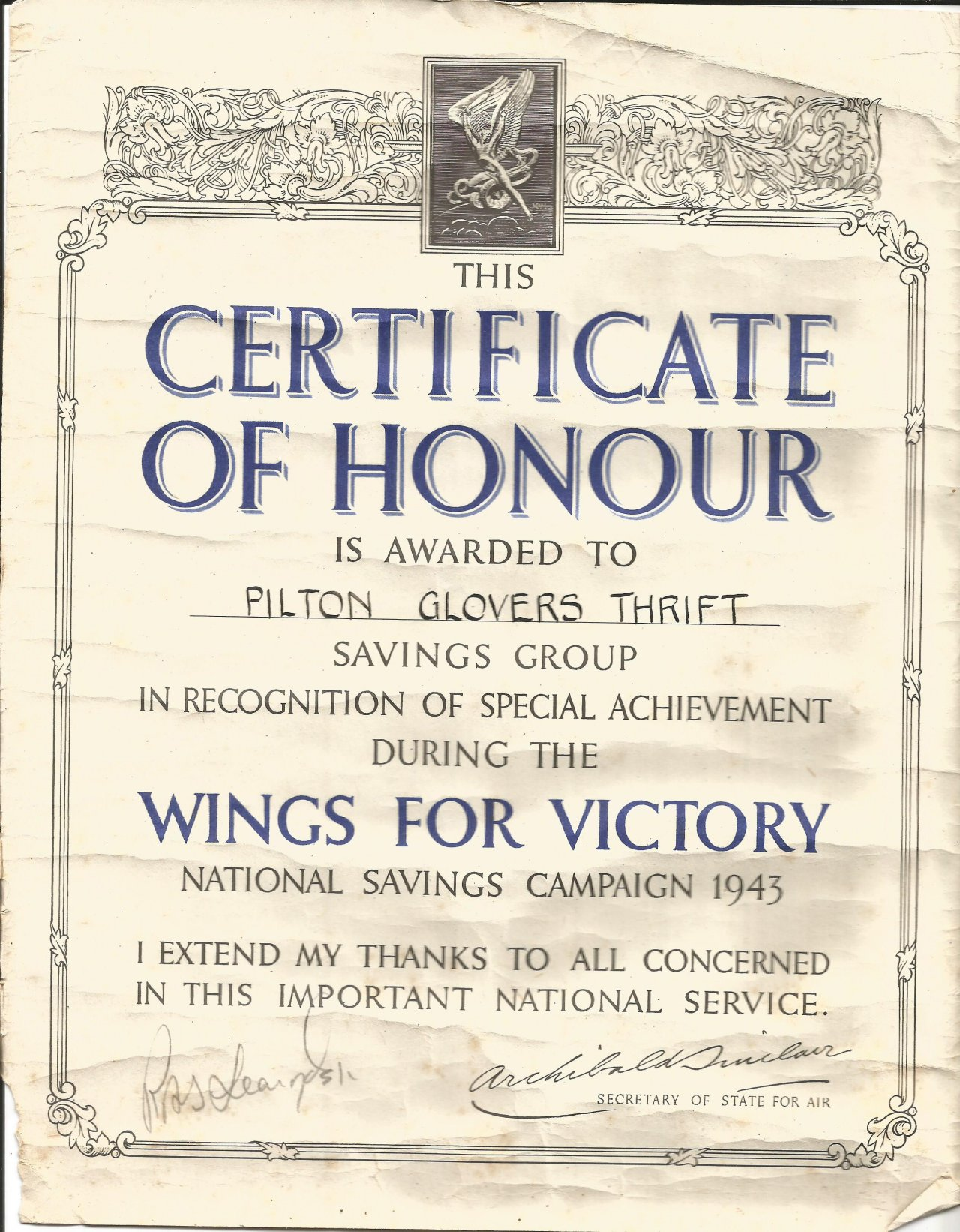 Certificate of honour awarded to pilton the glovers thrift savings certificate of honour awarded to pilton the glovers thrift savings group during the world war ii 1betcityfo Choice Image
