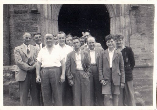 Pilton Church Bellringers at St Brannock's Church, Braunton in 1955