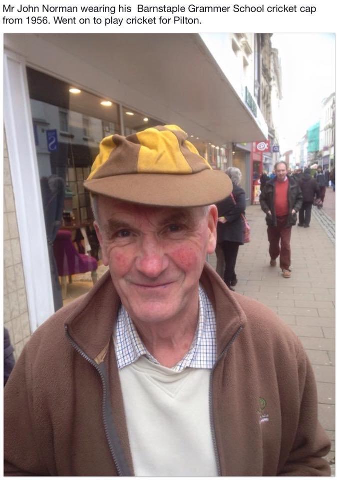 John Norman of Pilton in his 1956 Barnstaple Grammar School Cricket Cap
