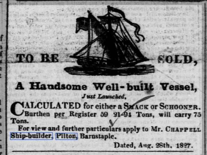 Handsome Well-built Vessel from Chappell's Yard in Pilton in 1827