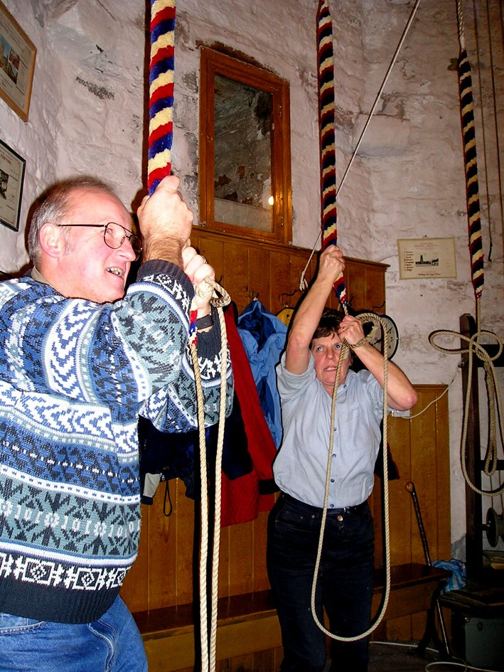 St Mary's Church, Pilton, Bellringers Ron and Frances Kenwood in 2004