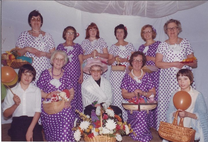 Pilton Women's Institute Dick Whittington Pantomime Chorus in the early 1980s