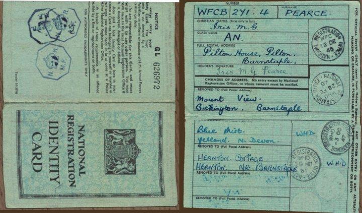 National Registration Card of Iris Pearce -  World War II until 1951