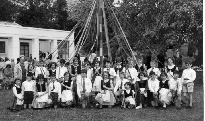 Maypole Dancing outside Pilton House during the early 1960s