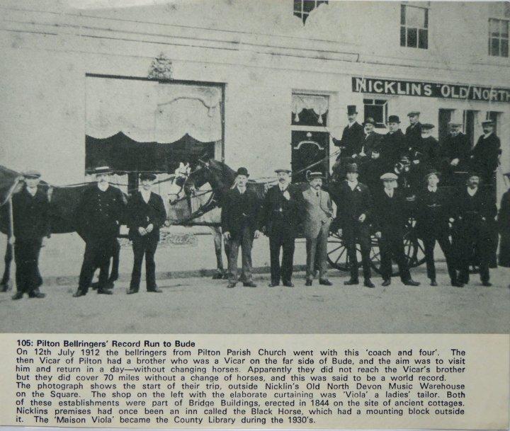 Pilton Bellringers' Record Run to Bude in 1912