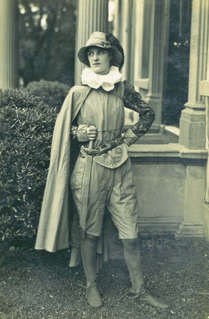 Minnie Bartlett plays Oliver in 'As You Like It' for the Pilton Girls Friendly Society around 1920