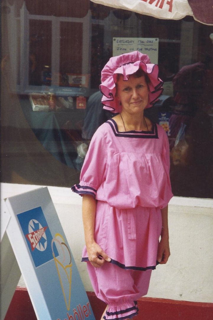 Heather Dwyer of Pilton Stores as a Victorian Bather in about 1998