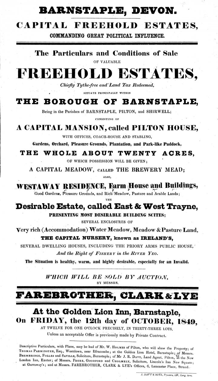 Poster for the Sale of the Pilton House Estate by Auction in October 1849
