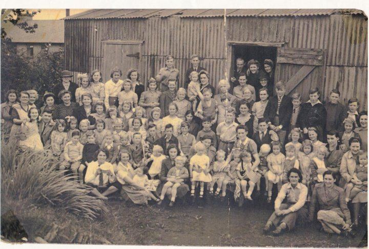 Gathering in Mill Road in the early 1940s