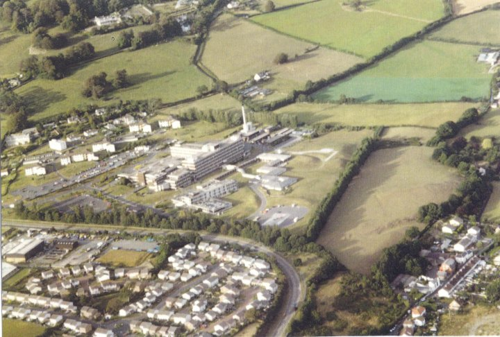 Aerial View of North Devon District Hospital in the late1980s