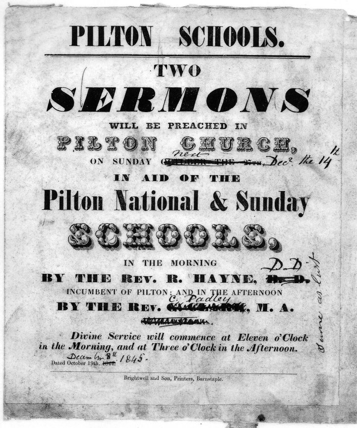 Poster for Two Sermons for Pilton Schools in 1845