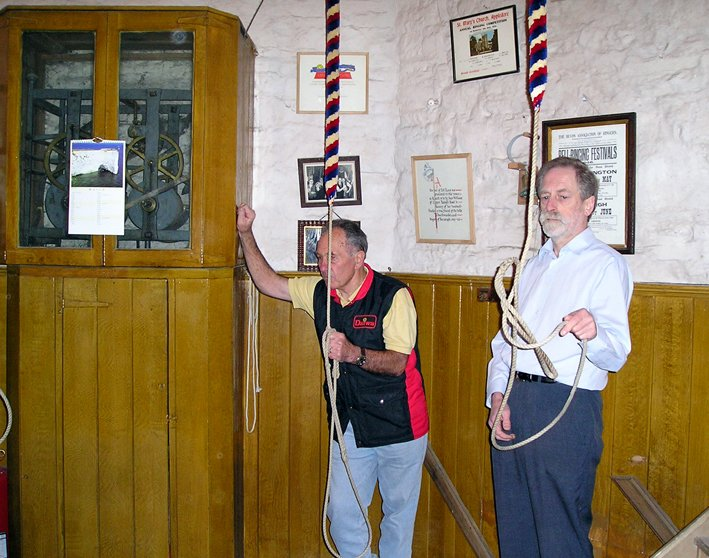 St Mary's Church, Pilton, Bellringers Reg Yeo and Geoffrey Smith in 2004