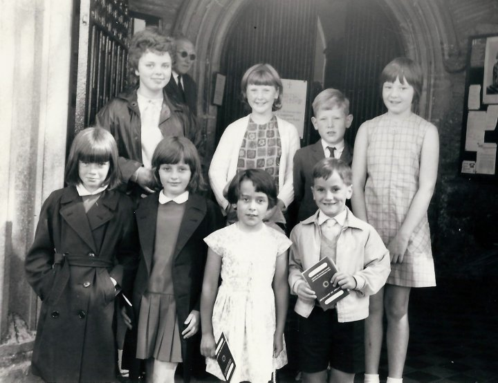 Children in Pilton Church Porch 1968