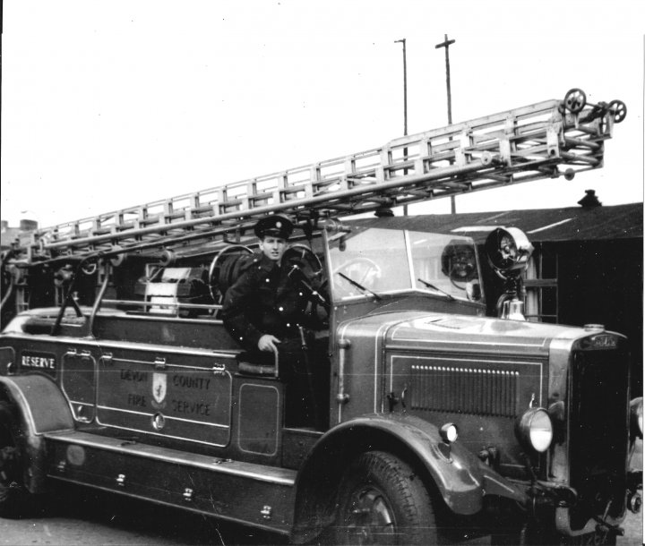 Roy Barnes in the last open top fire engine in North Devon in 1963