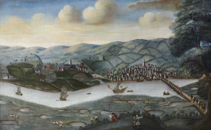 View of Barnstaple and Pilton from Sticklepath, Circa 1740 by an unknown artist.
