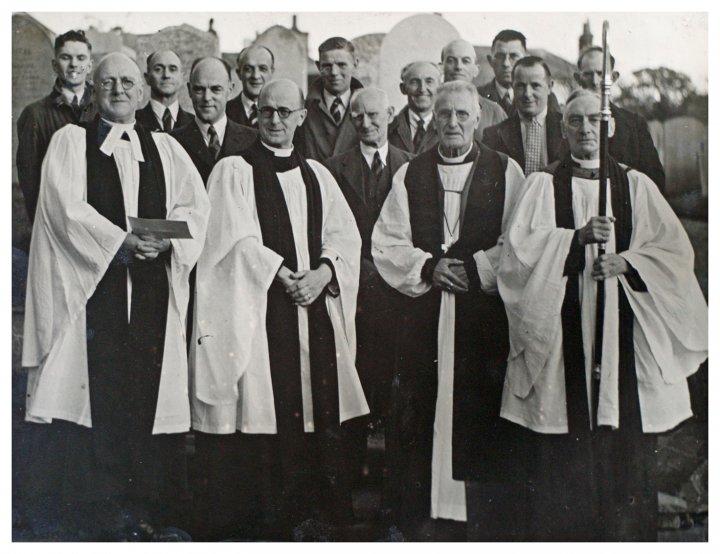 Pilton Bellringers at Re-hanging in 1947