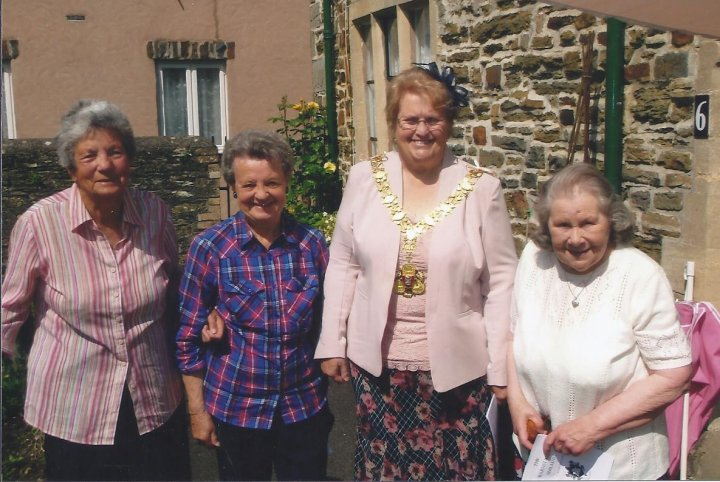 Presenting the Barnstaple Shilling to the residents of the Lower Almshouses in 2014