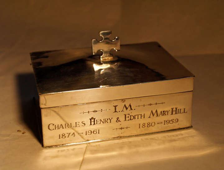Silver Wafer Box in Memory of Charles Henry and Edith Mary Hill, 1962