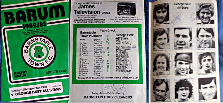 Extracts from Programme Barnstaple Town FC v George Best All Stars 12th December 1982