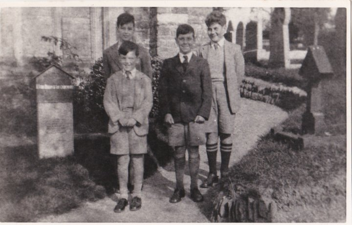 Boys Outside Pilton Church in the mid-1950s