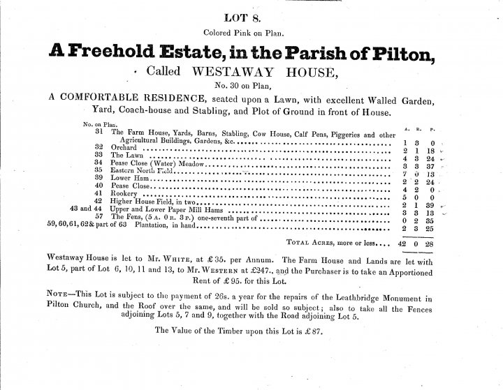Lot 8 Of Pilton House Estate in 1849 Called Westaway House
